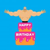 Happy Birthday Cake. Stripper From Cake Congratulation. Vector Illustration poster
