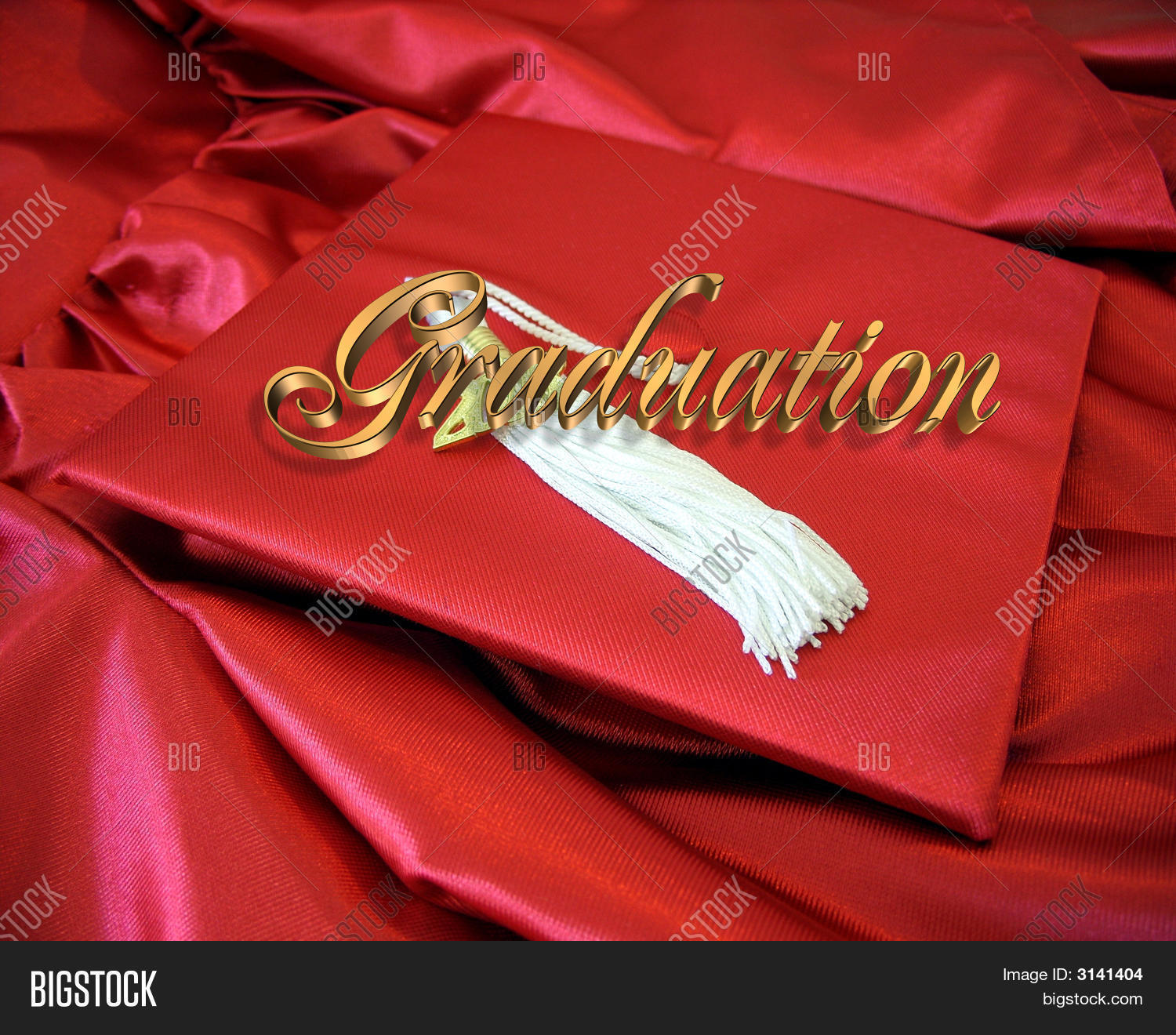 Graduation Card Red Cap And Gown Stock Photo & Stock Images | Bigstock
