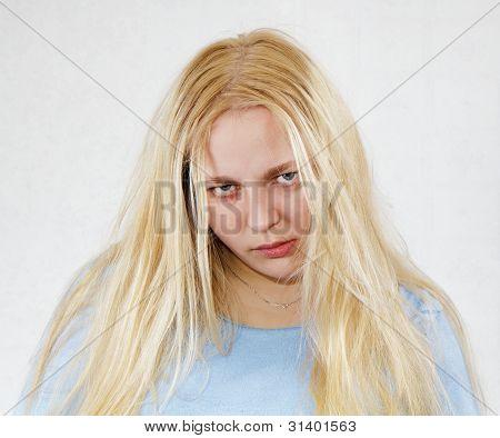 verrückte zerzausten Frau