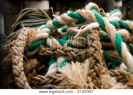 Old Multi Coloured Marine Rope Piled On Top Of Each Other