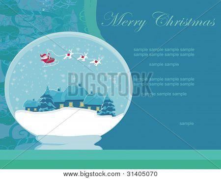Abbildung Winter festlichen Ball mit Haus und Santa claus