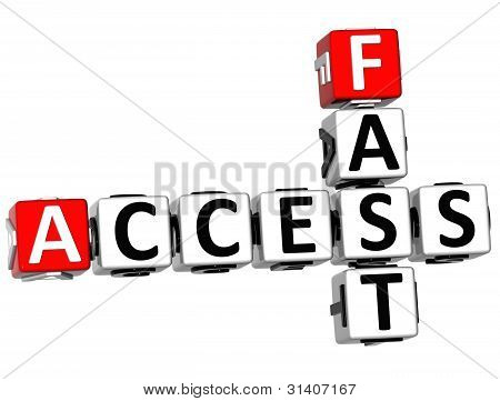 3D Access Fast Crossword Text