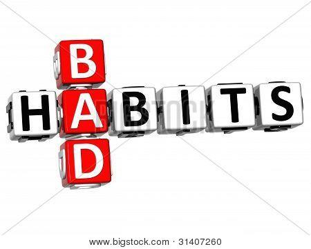 3D Bad Habits Crossword Text