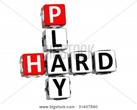 3D Play Hard Crossword Text