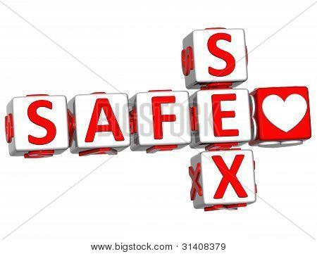 3D Love Safe Sex Crossword Text
