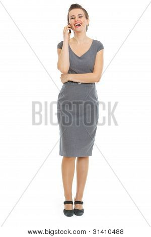 Elegant Woman In Dress Speaking Phone
