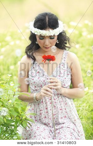 Beautiful Asian Woman In Spring