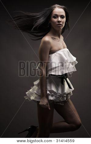 Gorgeous Brunette Woman Dancing