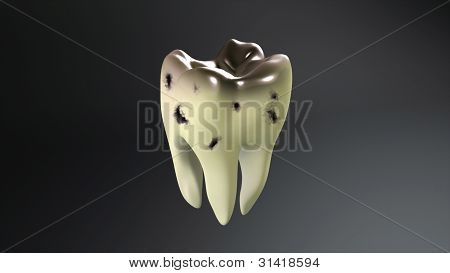 Broken Tooth With Black Background