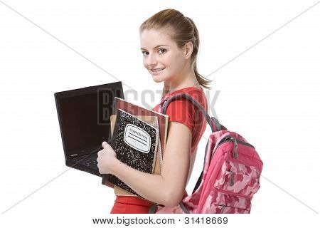 College Studentin Girls mit Laptop Rucksack