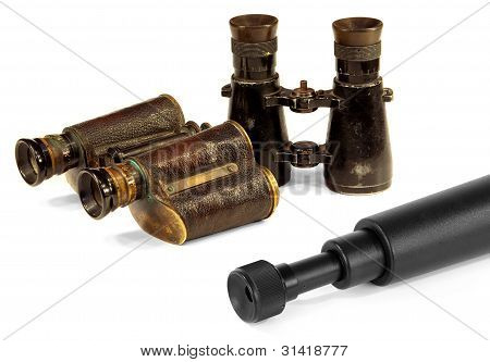 Two Pair Of Binoculars And Telescopes