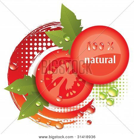 Vector Abstract Background With Fresh Tomatoes