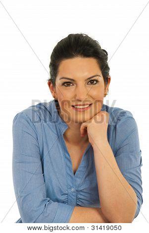 Retrato de mujer corporativa alegre