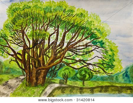 Big Willow Tree, Painting