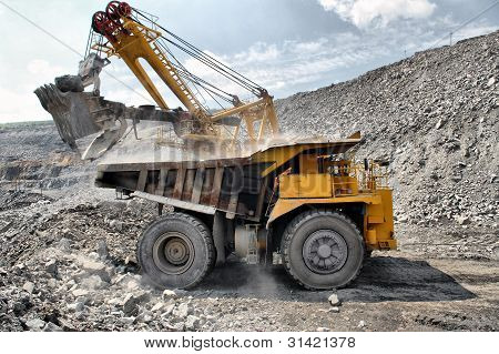 Loading Of Iron Ore On Truck