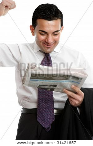 Businessman Punching Air With Excitement