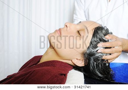 Women taking hair spa in a professional hair salon.
