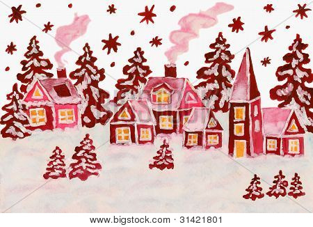 Christmas Picture In Raspberry Pink Colours