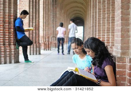 College Students Preparing For Examination.
