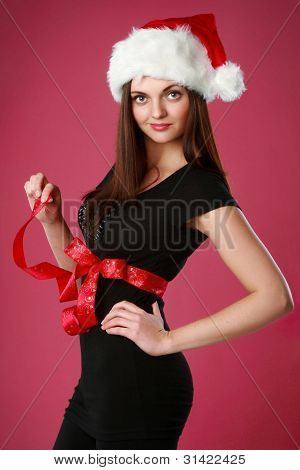 Christmas Girl In Santa Red Hat
