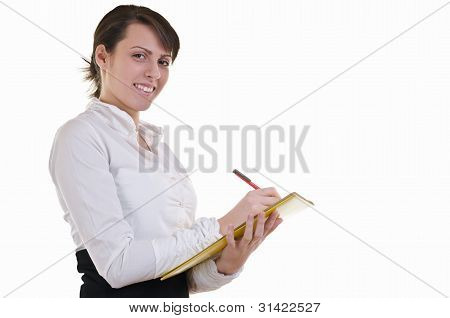 Business Woman Filling Forms