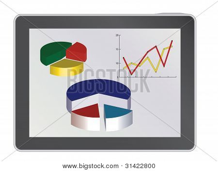 Tablet Pc con diagramas de Analytics