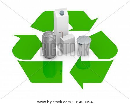 Recycling Symbol With Several Packages