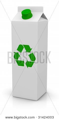Tetrapack Package With Recycling Symbol