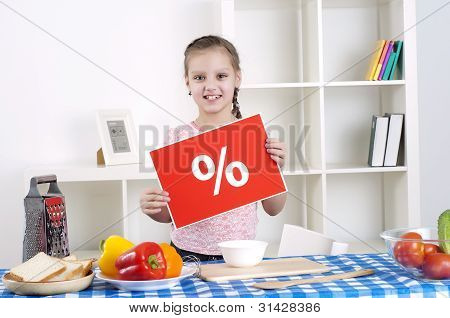 girl holding procent sign