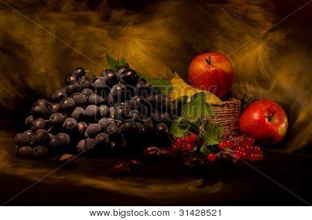 Stillleben mit Herbst Gemüse und Obst auf schwarzem Hintergrund