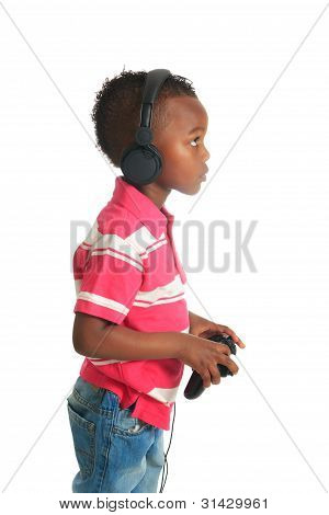 African American Black Child Listening To Music Isolated