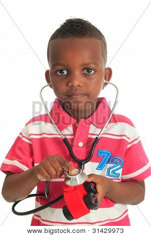 Black African American Child With Stethoscope And Car