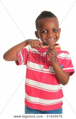 African American Black Child With A Tooth Brush Isolated