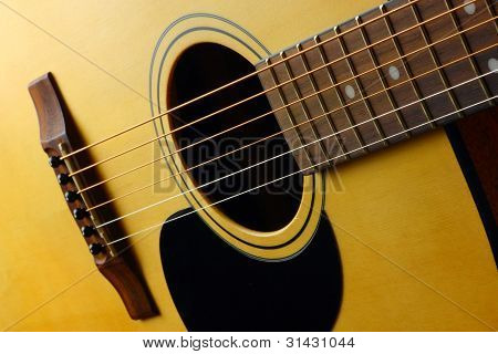 Closeup view of classic spanish guitar