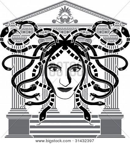 Medusa Gorgona temple stencil