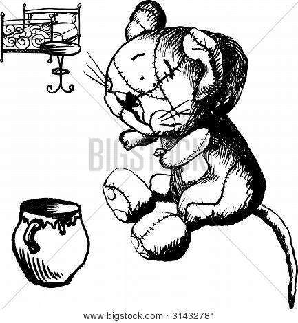 Cat And Pot Of Cream