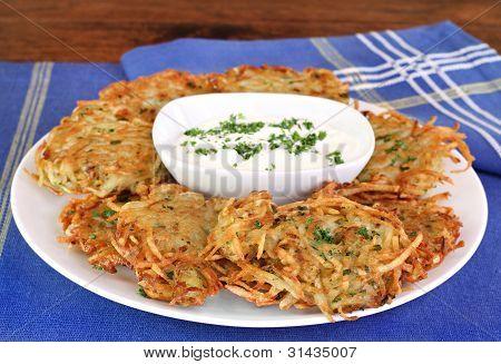 German Potato Pancakes And Sour Cream