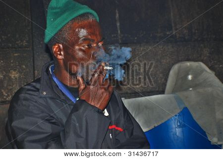 A unidentified man smoke