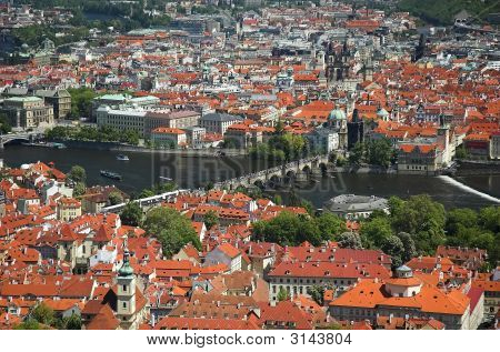 Aerial View Of Charles Bridge