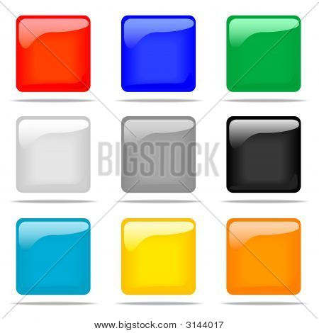 Set Of Glossy Square Buttons