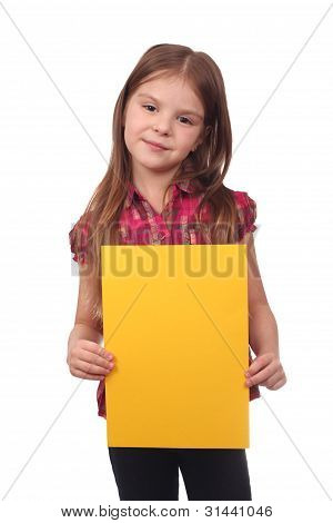 Cute girl holding yellow blank