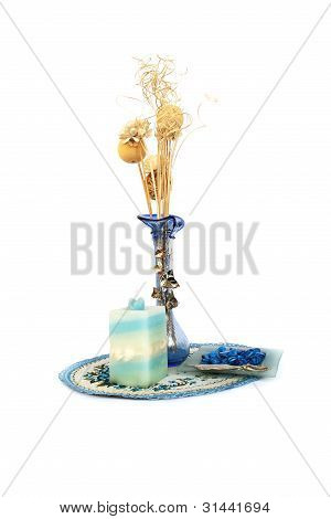 Blue Flower Vase, Candle, Table Overlay