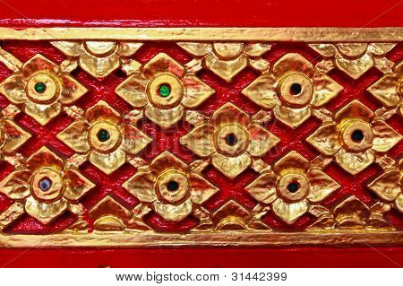 Golden Thai Pattern Design On Temple Wall