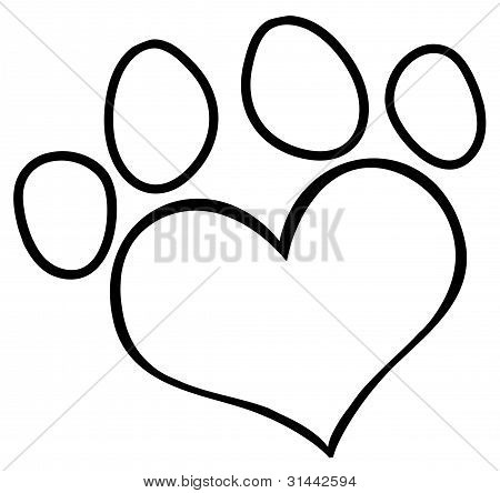Outlined Love Paw Print