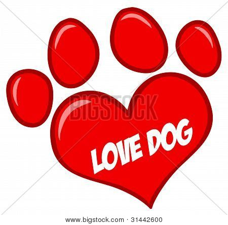 Love Paw Print With Text