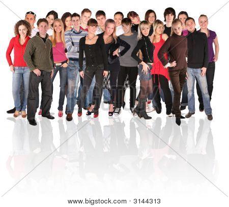 Grote groep jongeren menigte