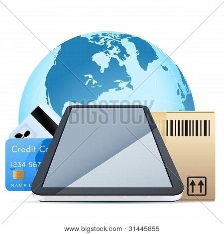 Clear Touch Pad Personal Computer With Cardboard Box And Bank Cards Over Earth Globe