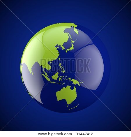 Globe With  On A Dark Background Asia And Australia