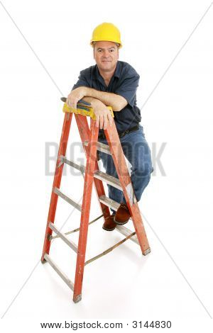 Construction Worker On Ladder