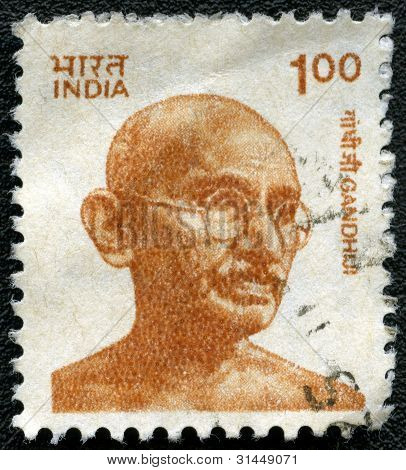 India - Circa 1991: A Stamp Printed In India, Shows Portrait Of Mohandas Karamchand Gandhi, Circa 19